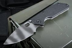 Strider AR Frame Lock Black Tiger Stripe Tactical Folding Knife