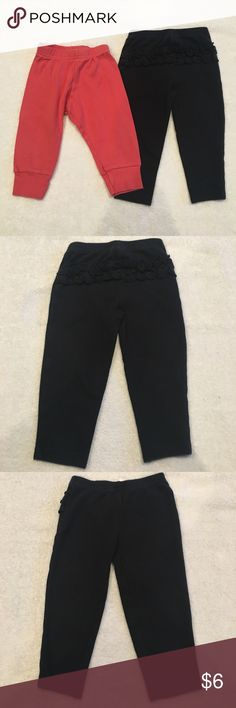 6-12 Month Pants Bundle Two pairs of 6-12 Month pants. Black pair has ruffle on back and is by Child of Mine by Carter's. Other pair is by American Apparel and are 100% organic cotton. American Apparel pants run smaller than Carter's but both should fit in the size 6-12 Month range. No trades, offers welcome. Bundle and save! American Apparel Bottoms