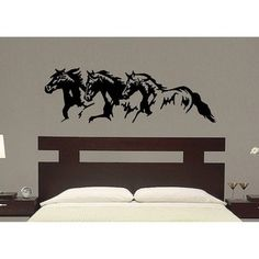 @Overstock - This unique 'Horse Trio' wall graphic is crafted of high-quality, matte finish removable vinyl. This vinyl wall decal applies to flat surfaces such as walls, glass and tile and creates a look of hand-painted art work without the cost or effort.http://www.overstock.com/Main-Street-Revolution/Vinyl-Trio-Horse-Wall-Decal/6225911/product.html?CID=214117 $33.24