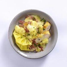 Hawaii-Raclette-Pfännchen mit Hähnchenfilet, gekochtem Schinken, Ananas und Gouda Rezept