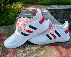 custom paint womens and mens adidas nmd casual shoes gucci style white  color athletic run sneakers 1a37e6c37