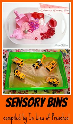 sensory bins, including one for #valentines