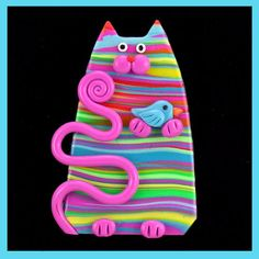 Susan Wrisley - - I am a full time artist who works and lives in Hollis, NH. I have a wonderfully understanding husband who puts up with me and two very demanding cats, Max and Chloe. My furry kids love to help me. Polymer Clay Cat, Polymer Clay Projects, Polymer Clay Jewelry, Cat Crafts, Diy And Crafts, Jumping Clay, Animal Gato, Clay Cats, Eye Painting