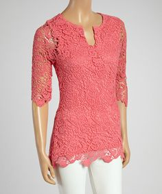Coral Paisley Knit Three-Quarter Sleeve Top