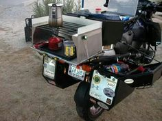Now You Know Why Adventure Motorcycles Have Big Panniers from Bikes in the Fast Lane - Daily Motorcycle News - Love Cars & Motorcycles Motorcycle Camping, Motorcycle News, Camping Gear, Motorcycle Adventure, Gs 1200 Adventure, Adventure Tours, Adventure Gear, Materiel Camping, Klr 650