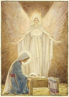 'The Guardian' - Mary with Jesus in crib and Angel behind. Christmas card.