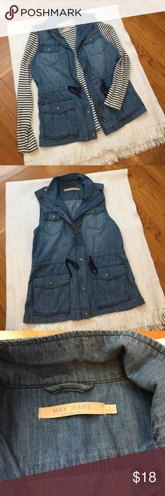 Max jeans denim vest This adorable denim vest goes with everything!! Wear it over a striped shirt and slim black jeans, with a tank top, over a sundress... Drawstring waist and zipper give options, too. Measures 18.5 pit to pit, 25 inches shoulder to hem. Fun snap detail on the shoulders. In very good condition. Reasonable offers welcome! Jackets & Coats Vests