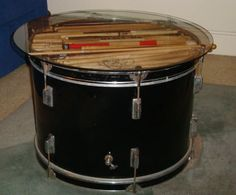 Found a sweet 70s Ludwig drum today and I am making something similar! Drumsticks are a neat addition!