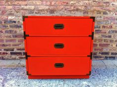 Vintage Campaign Dresser In Tangerine by minthome on Etsy, $250.00