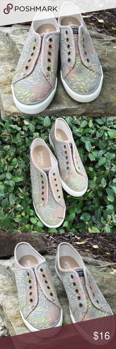 Laceless Swirl Print Sperry Top-Siders Super comfy slip on Sperry Top-Siders. Beautiful grey, yellow and orange color combination. Perfect for summer activities and boating. Pre worn in very good condition-Bottom of shoes show wear. See photos. No Trades. TB1275. Sperry Top-Sider Shoes Flats & Loafers