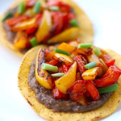 Roasted Bell Pepper Tostadas - Pinch of Yum - - These roasted bell pepper tostadas are colorful and simple - just tortillas, refried beans, and roasted peppers. Vegan, vegetarian, and healthy. Mexican Food Recipes, Vegetarian Recipes, Cooking Recipes, Healthy Recipes, Vegan Vegetarian, Turkey Recipes, Cooking Tips, Tostadas, Vegan Dishes