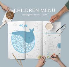 Children Menu for Sportingclub. Summer on Behance Restaurant Menu Design, Logo Restaurant, Kids Play Places, Food Graphic Design, Design Design, Logo Design, Menu Illustration, Kids Branding, Corporate Branding