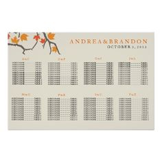 Fall Leaves Wedding Seating Chart Poster
