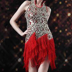 Gold Sequin Red Halter Tassel Ballroom Dancing Occasion Dresses Women SKU-401314