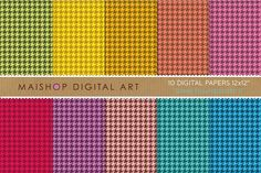 Digital Papers -Small Houndstooth II by Maishop on @creativemarket