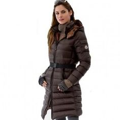 Moncler Down Coat Women With Belt Long Brown Canada