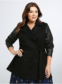 "<p>A black trench coat meant for some spy games, all the classic details are here: buttoned front, back vent, and notch collar. We added our own touches to amp up the sexy factor: a waist-cinching belt and faux leather sleeves. Meant for dangerous(ly sexy) missions.</p><p> </p><p><b>Model is 5'9"", size 1</b></p><ul>	<li>Size 1 measures 33 3/4"" from shoulder</li>	<li>Polyester/rayon/spandex</li>	<li>Wash cold, dry low</li>	<li>Imported plus size coat</li></ul>"