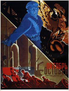 «Плакат Октябрь», Стенберг Владимир Августович Стенберг Георгий Августович Руклевский Яков Тимофеевич, 1927