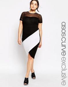 ASOS CURVE Bodycon Dress with Asymmetric Colorblock plus  size