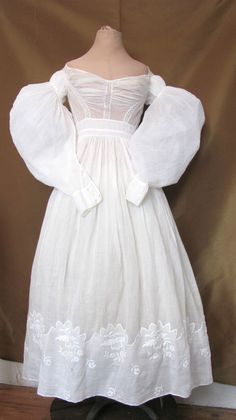 Antique White Cotton Embroidered Dress c1830s
