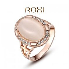 Exaggerated rings ROXI Big Rings for Women Opal Stone Rose Gold Plated Oval Wedding Bands Vintage ring Retro Bague women Cheap