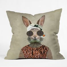 Coco de Paris Vintage Lady Rabbit Outdoor Throw Pillow | DENY Designs Home Accessories