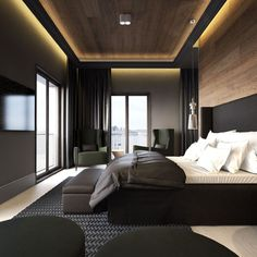 Modern Bedroom Ideas - Trying to find the best bedroom design ideas? Make use of these lovely modern bedroom ideas as ideas for your own wonderful designing scheme . Modern Bedroom Design, Master Bedroom Design, Home Interior Design, Contemporary Bedroom, Bedroom Designs, Bed Designs, Modern Mens Bedroom, Small Modern Bedroom, Hotel Bedroom Design