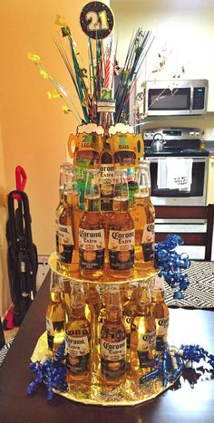 Beer cake for my friend& A total of 24 beers. - Beer cake for my friend& A total of 24 beers. Birthday Cakes For Men, Birthday Box, 21st Birthday Gifts For Guys, 25th Birthday Ideas For Him, Birthday Decorations For Men, 21st Gifts, 21st Birthday Crafts, Golden Birthday Gifts, 21st Birthday Drinks