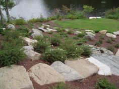 A rock garden is a great idea for a slope when grass won't grow.