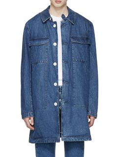 Sunnei Blue Denim Long Pocket Jacket from SSENSE (men, style, fashion, clothing, shopping, recommendations, stylish, menswear, male, streetstyle, inspo, outfit, fall, winter, spring, summer, personal)
