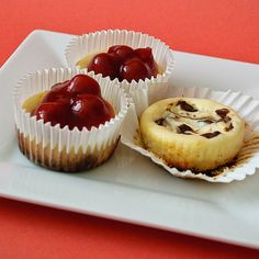 Mini Cheesecakes-Fruit topped, choc swirl or turtle variations included. Yum!