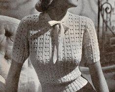 Vintage Crochet Patterns, Crochet Patterns For Beginners, Vintage Knitting, 1940s Outfits, Vintage Outfits, Vintage Fashion, 1940s Fashion, Vintage Beauty, Tops Vintage