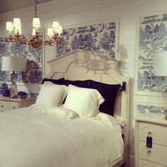 La Dolce Vita: Las Vegas Market Recap Bedroom Vignette at Stanley Furniture Wallpaper Panels, Of Wallpaper, Fabric Wallpaper, Bed Design, House Design, Design Hotel, Blue And White Wallpaper, Las Vegas, Small Apartment Design