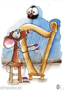 ACEO Original Watercolor Folk Art Whimsical Painting Mouse Crow Music Harp | eBay