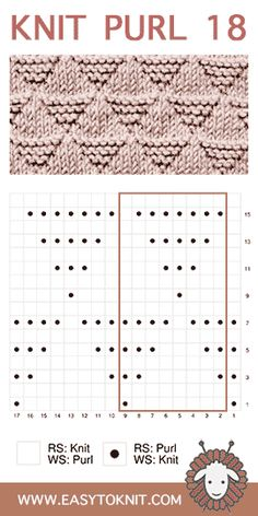 Easy To Knit: Knit-Purl – loom knitting stitches Knit Purl Stitches, Knitting Stiches, Knitting Charts, Loom Knitting, Free Knitting, Baby Knitting, Free Crochet, Knit Crochet, Learn How To Knit