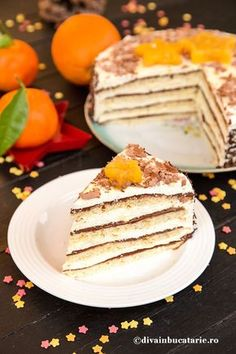 TORT CU CREMA DE PORTOCALE SI CIOCOLATA | Diva in bucatarie Delicious Deserts, Romanian Food, Something Sweet, Coffee Cake, Cake Cookies, Biscuits, Sweet Treats, Food And Drink, Cooking Recipes