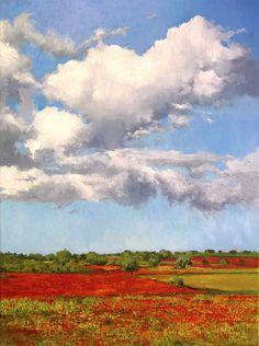 Un cuadro al óleo de un paisaje de amapolas, 81x65 cms