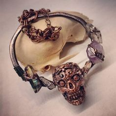 """LG Electroformed Sugar Skull with Natural Stones on 30"""" Chain"""