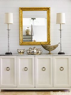 Add silverleaf to a surface, such as the top of this credenza. Desing: Zim Loy. housebeautiful.com. #silverleaf