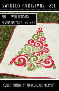 Swirled Christmas Tree Quilt Pattern from FN   Check out patterns on Craftsy!