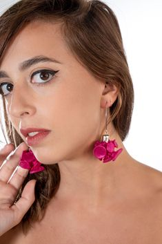 Pink Earrings, Unique Handmade Fuchsia Flower Fabric Dangle Drop Hook Earrings For Women, Chunky Long Statement Earrings For Women, Shibori Textile Fashion Jewelry, Gift For Mom Wife Sister Aunt #fungistudio #fabricearrings #dangleearrings #LongEarrings #StatementEarrings #FunkyEarrings #Avantgardejewelry