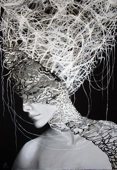 Anna Rączka ,,Black and white - Penelopa`` Fantasy Hair, Hair Reference, Black Canvas, Oil On Canvas, Canvas Size, Surrealism, Saatchi Art, Anna, Black And White