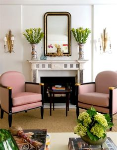 Not-So-Basic Black. Yet again, Melissa Rufty of MMR Interiors shows how black lacquer and brass accents go hand in hand (especially when paired with a luxe blush fabric).