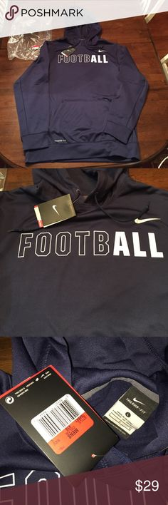 Nike Therma-Fit Football Hoodie Sweater, Size L Nike Therma-Fit Football hoodie sweat shirt. Brand new with tags and original plastic pouch. Navy blue. Men's size large. Nike Shirts Sweatshirts & Hoodies
