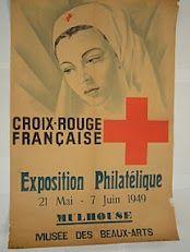 Affiche de l'exposition philatélique des timbres de la Croix-Rouge française en 1949 - French Red Cross stamp exhibition : poster from 1949.  Plus d'infos sur les timbres de la Croix-Rouge française ici : http://www.phil-ouest.com/Timbres.php?Cas=Dep=CRF