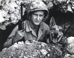 Private John L. Drugan and Pal, May 1945. Pal was responsible for saving an entire Marine platoon from an ambush on Okinawa after discovering a hidden Japanese machine gun nest.