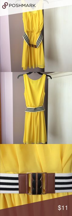 Bright Yellow By&By Dress Cute yellow tank dress with striped belt. The dress also has an inner lining, as shown in photos. By&By Dresses