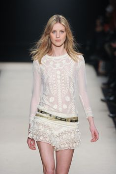 :H&M Runway Copy: Isabel Marant White Fall 2012 Long Sleeve White Patterned Crewneck Top