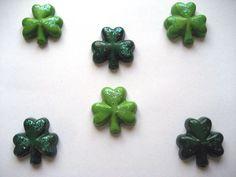 Green Glitter Shamrock Crayons