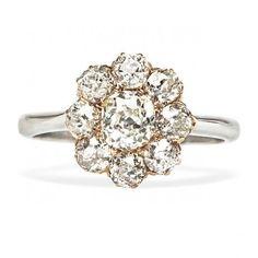 vintage old mine cut diamond cluster flower ring / trumpet & horn
